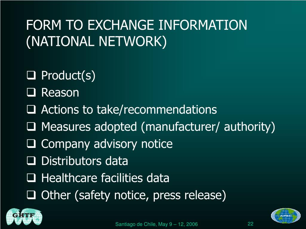 FORM TO EXCHANGE INFORMATION (NATIONAL NETWORK)