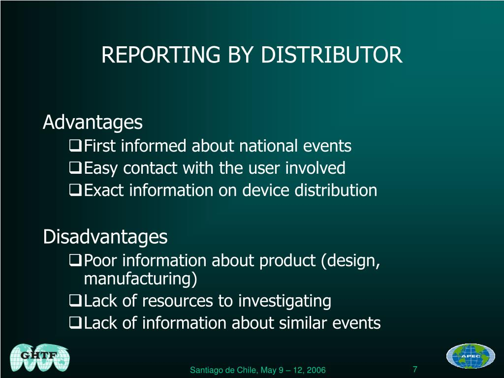 REPORTING BY DISTRIBUTOR