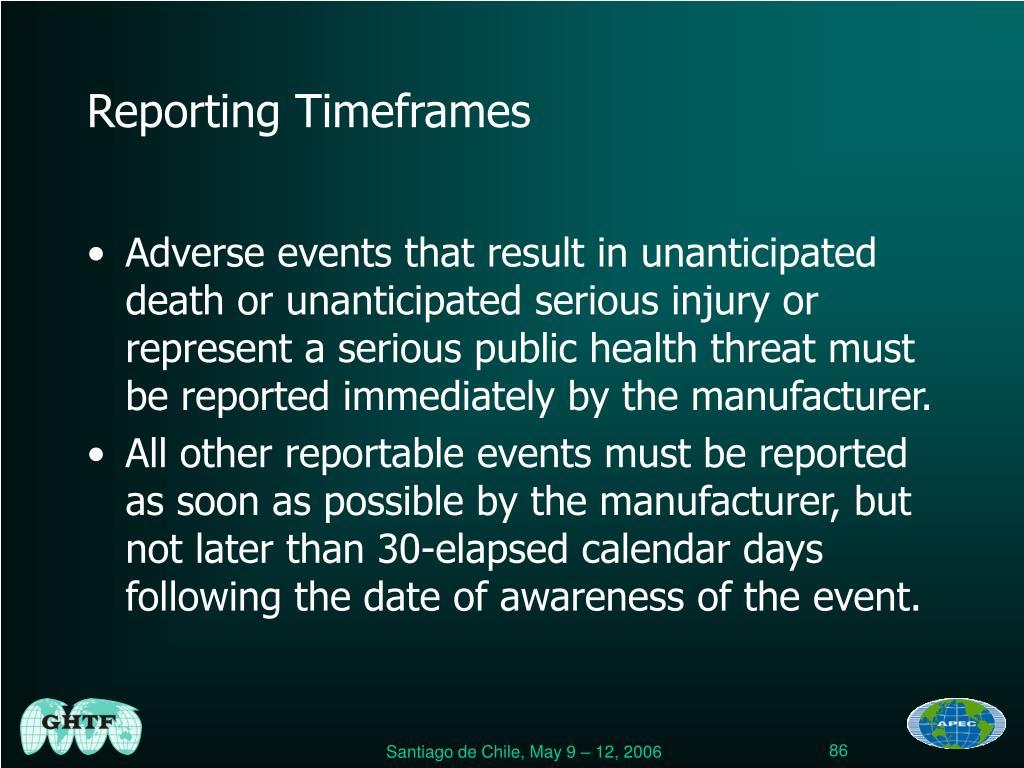 Reporting Timeframes