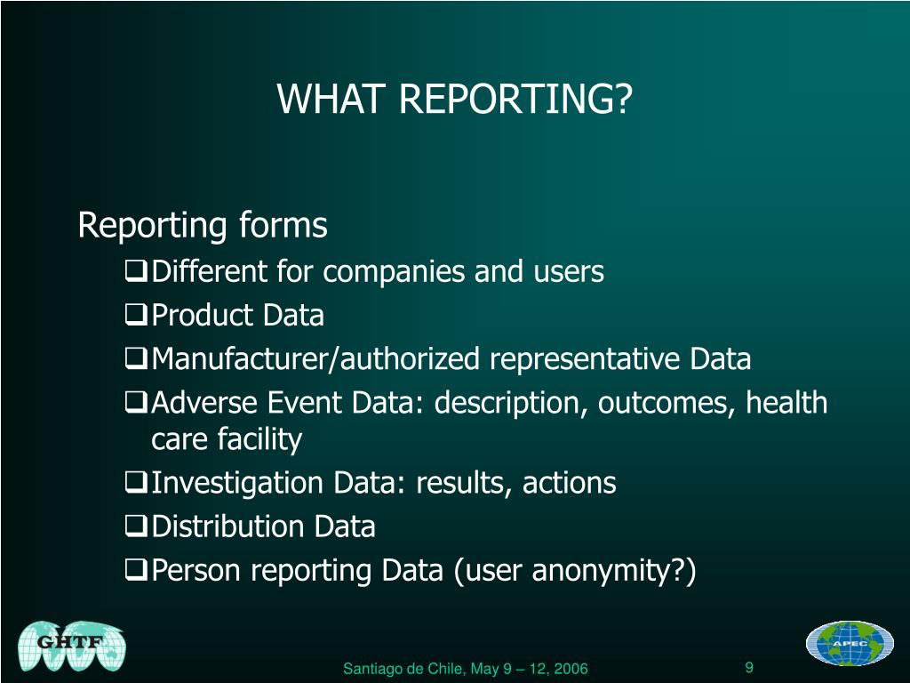 WHAT REPORTING?