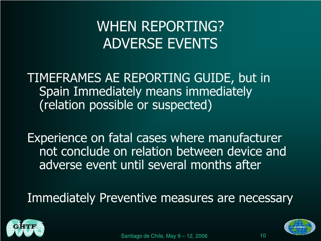 WHEN REPORTING?