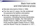 back from exile and international prizes