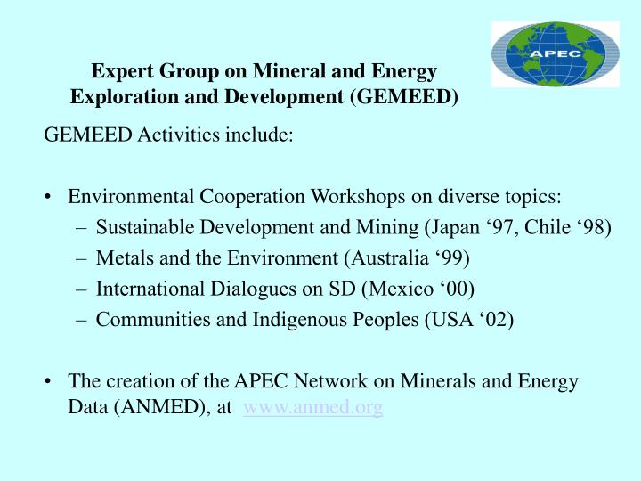 Expert group on mineral and energy exploration and development gemeed2