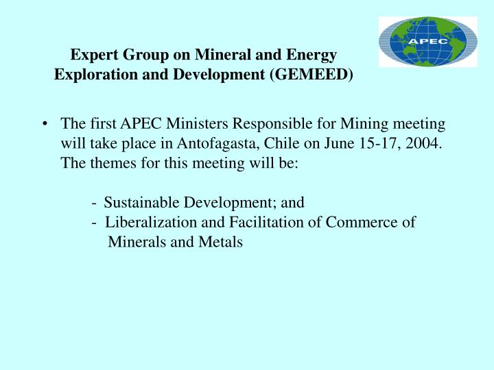 Expert group on mineral and energy exploration and development gemeed3