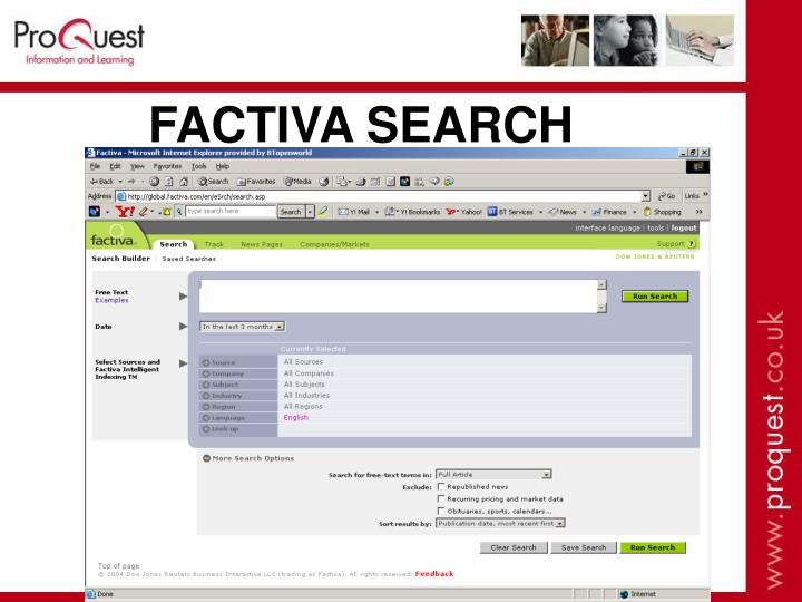 FACTIVA SEARCH