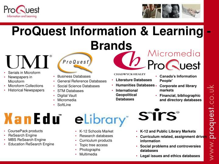 Proquest information learning brands