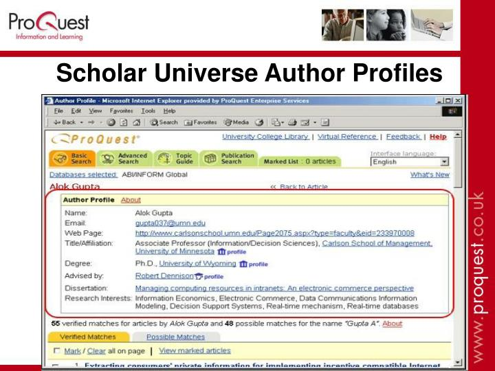 Scholar Universe Author Profiles