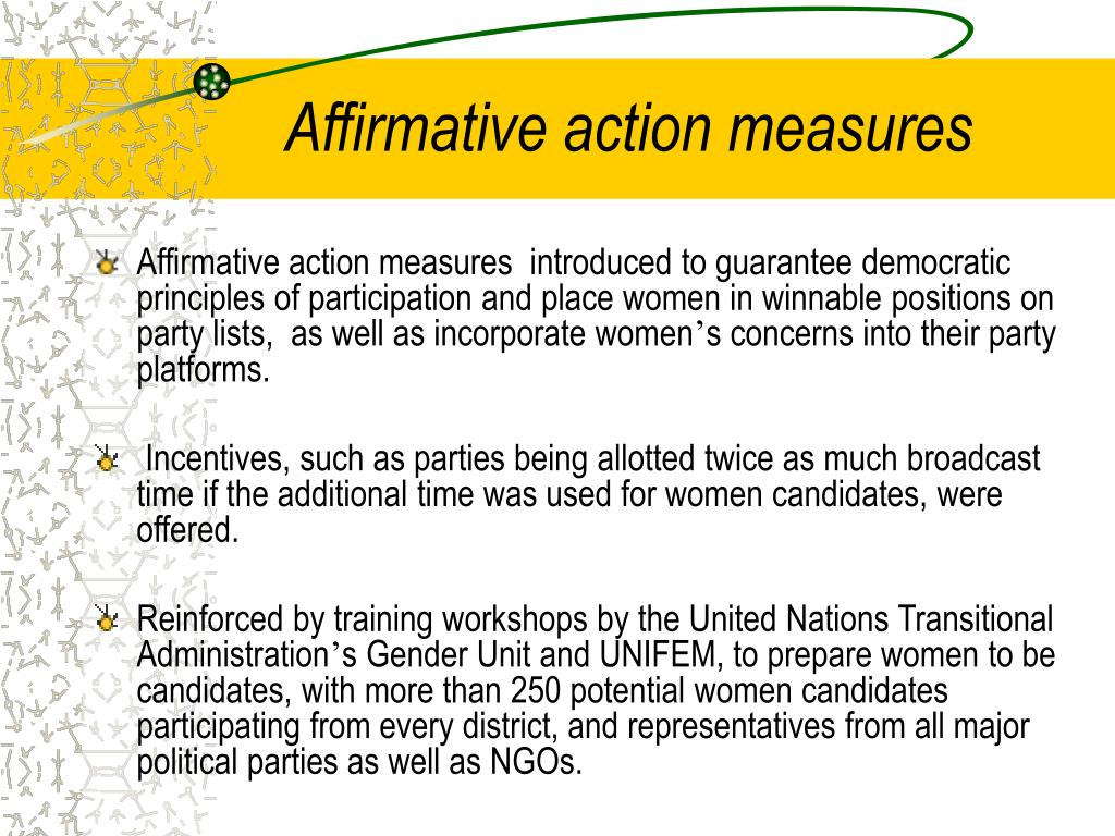 Affirmative action measures