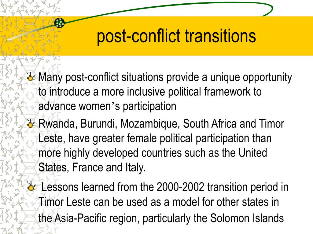 post-conflict transitions