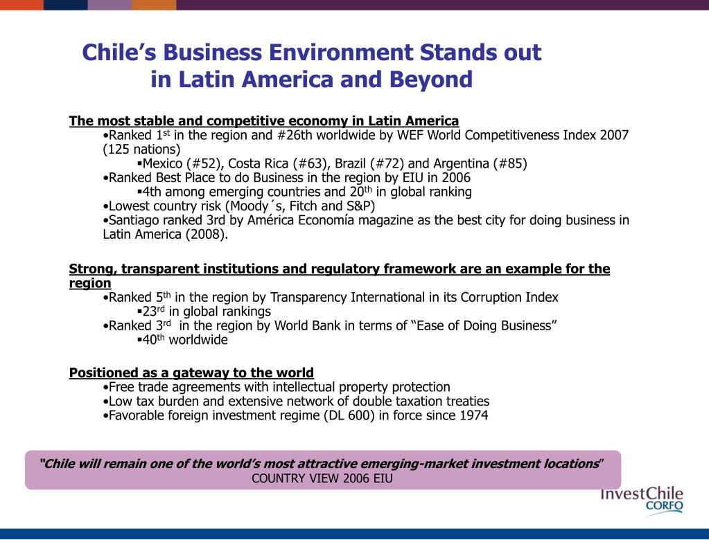 """""""Chile will remain one of the world's most attractive emerging-market investment locations"""