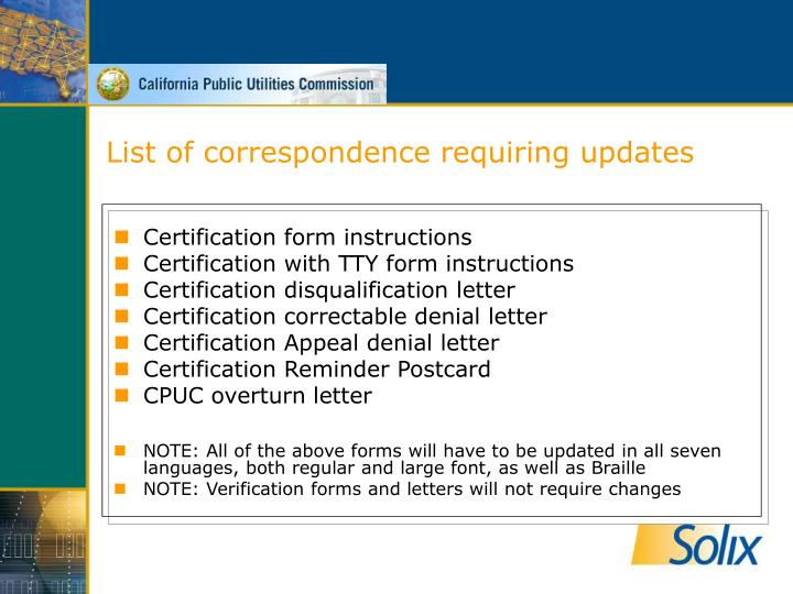 List of correspondence requiring updates