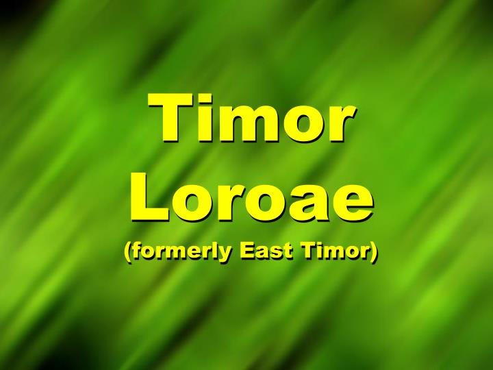 Timor loroae formerly east timor