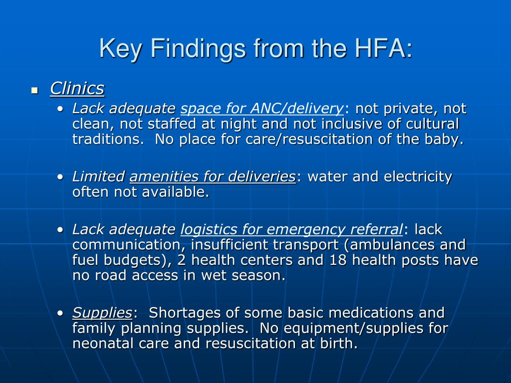 Key Findings from the HFA:
