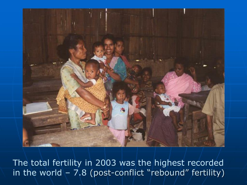 The total fertility in 2003 was the highest recorded
