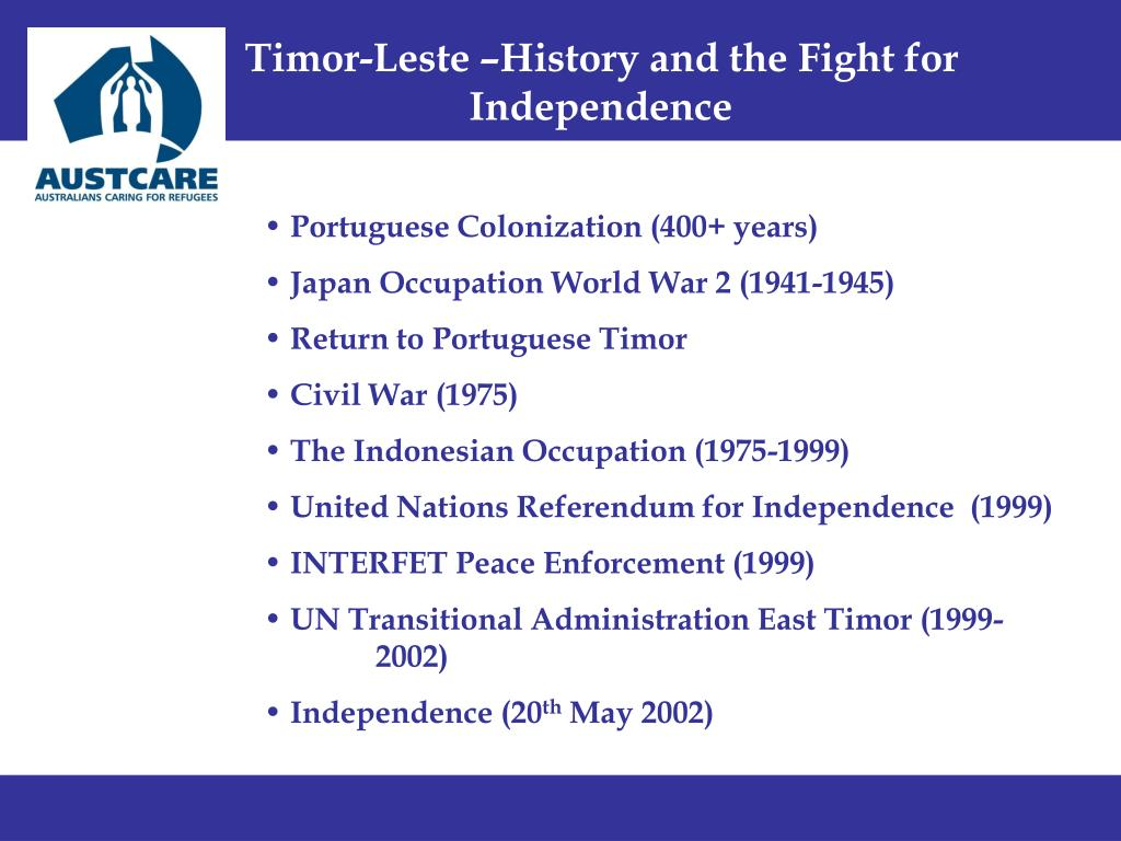 Timor-Leste –History and the Fight for 			Independence