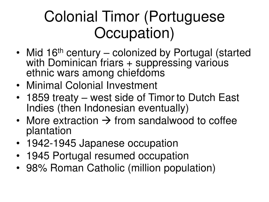 Colonial Timor (Portuguese Occupation)