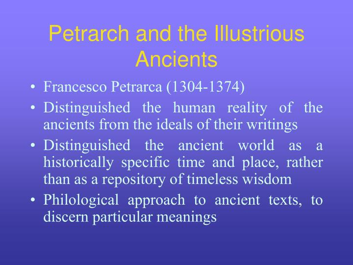 Petrarch and the Illustrious Ancients
