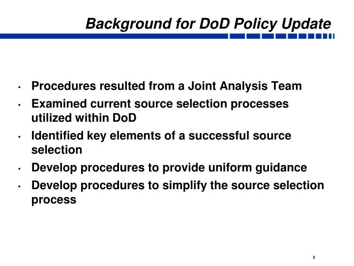 Background for dod policy update