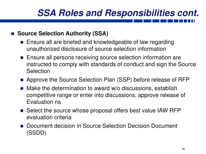 SSA Roles and Responsibilities cont.