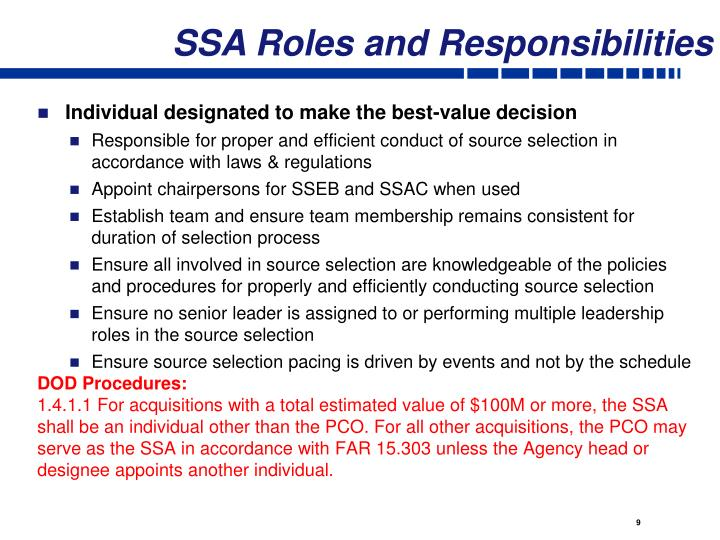 SSA Roles and Responsibilities