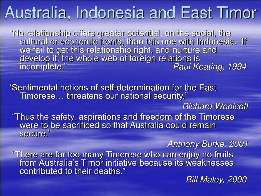 Australia, Indonesia and East Timor