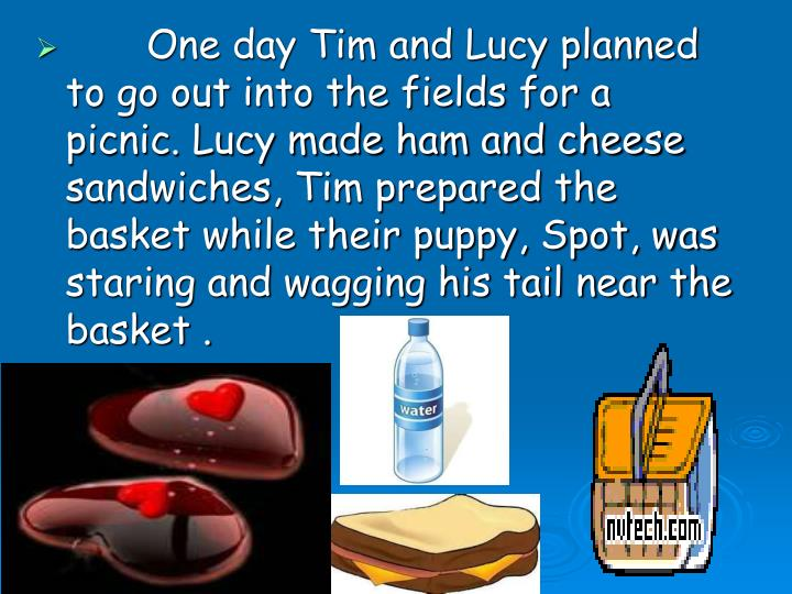 One day Tim and Lucy planned  to go out into the fields for a picnic. Lucy made ham and cheese sandwiches, Tim prepared the basket while their puppy, Spot, was staring and wagging his tail near the basket .