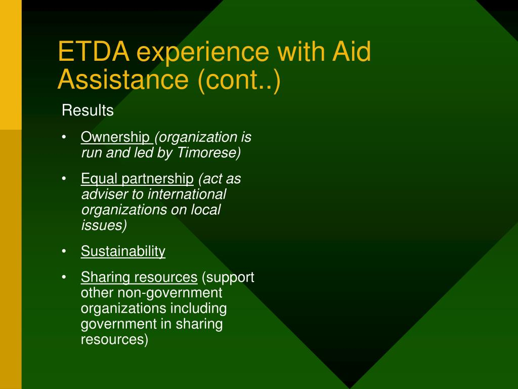 ETDA experience with Aid Assistance (cont..)