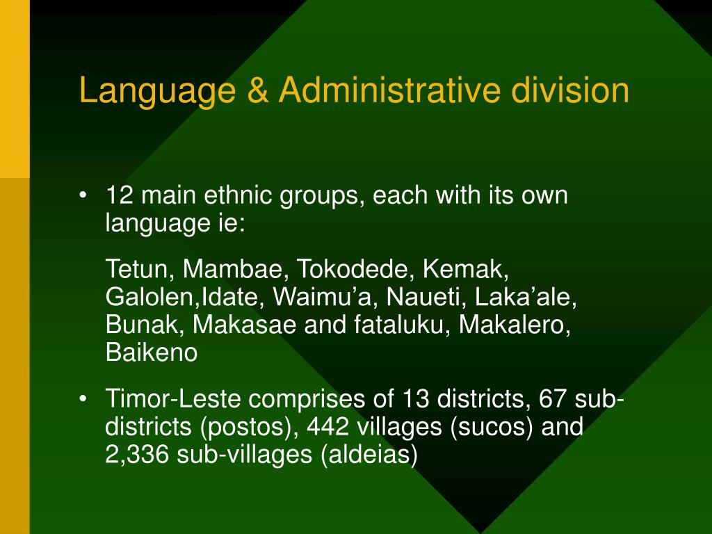 Language & Administrative division
