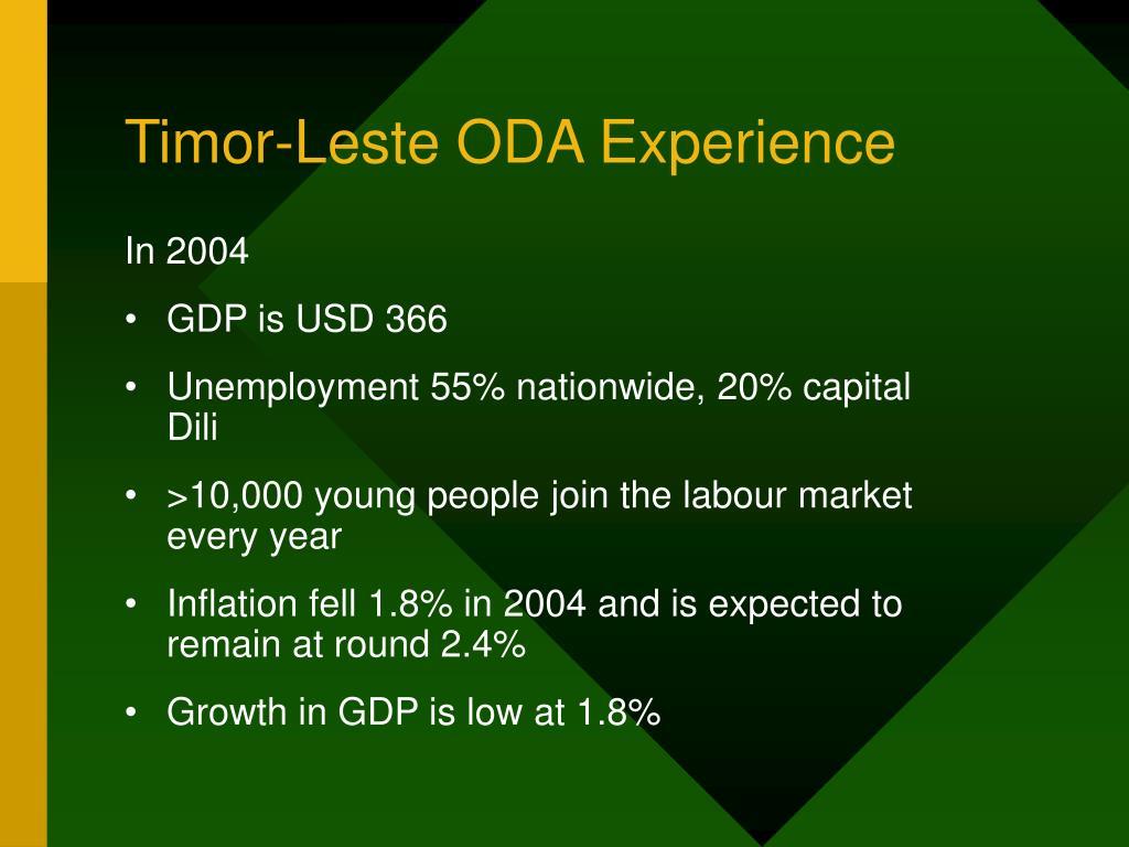 Timor-Leste ODA Experience