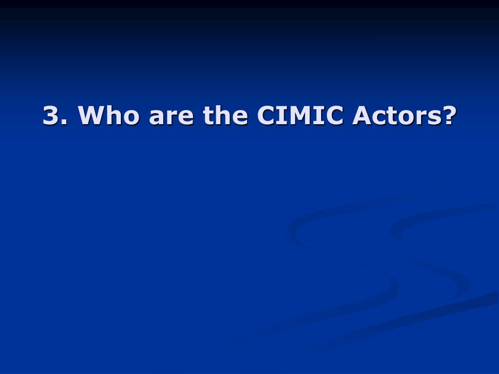 3. Who are the CIMIC Actors?