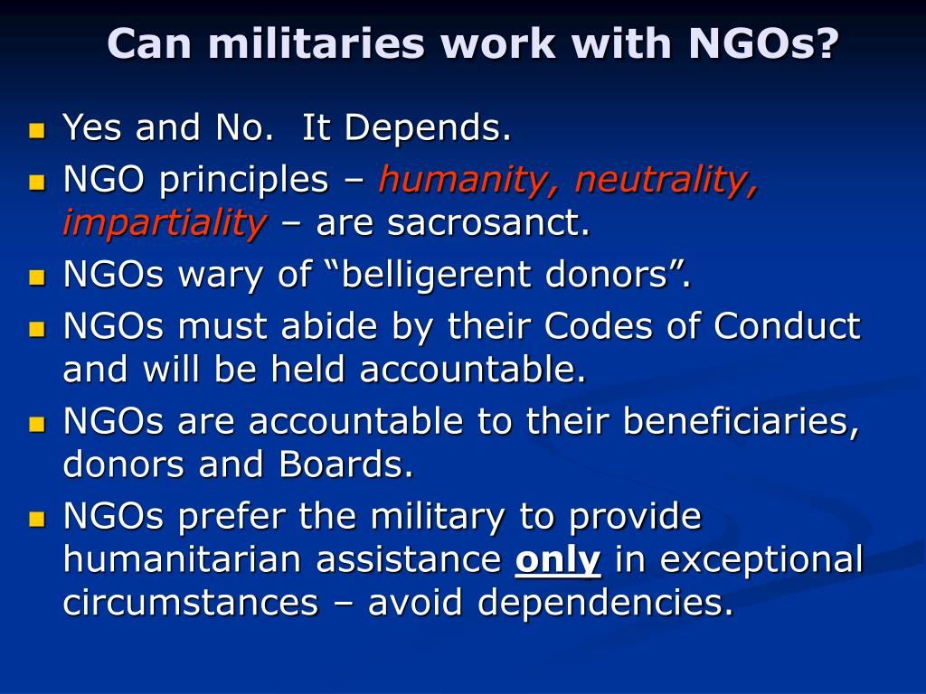 Can militaries work with NGOs?