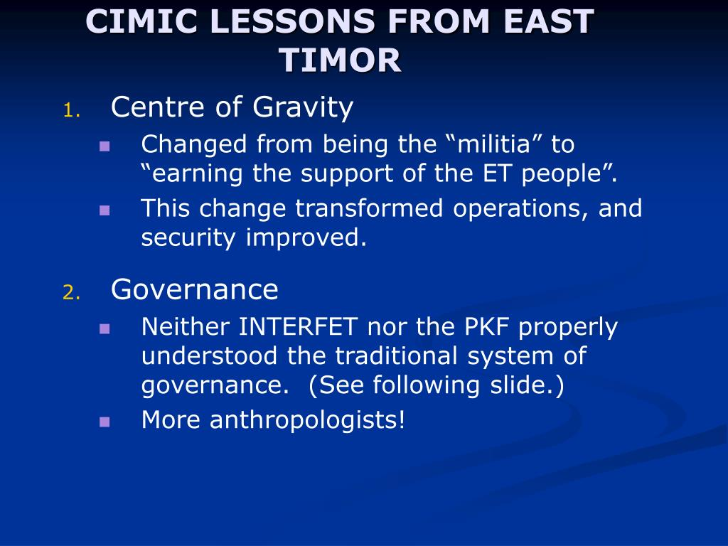 CIMIC LESSONS FROM EAST TIMOR