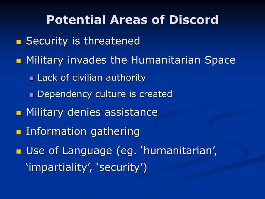 Potential Areas of Discord