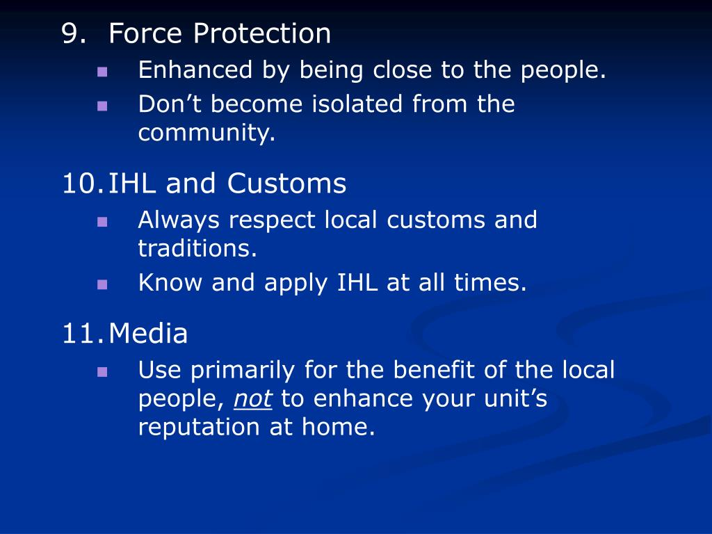 9. Force Protection