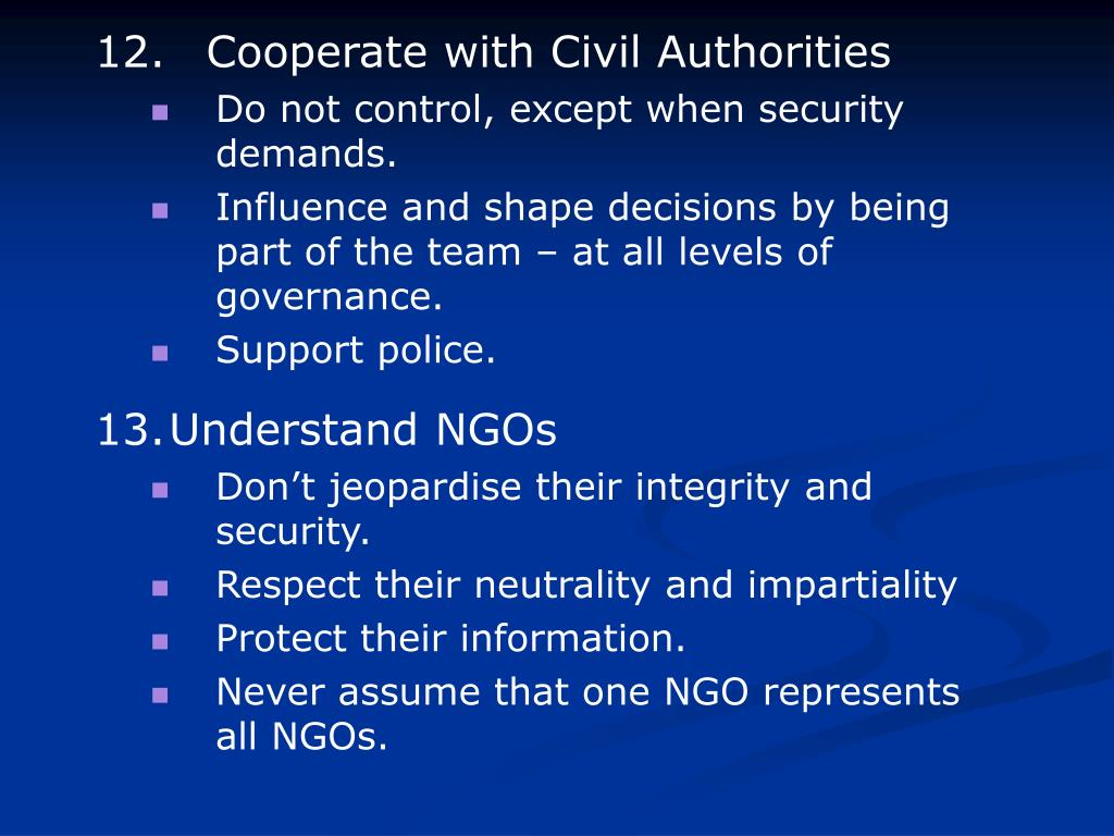 12. Cooperate with Civil Authorities