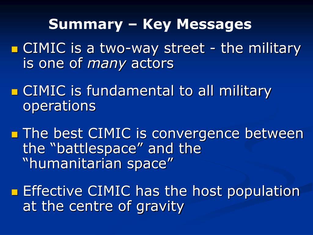 Summary – Key Messages