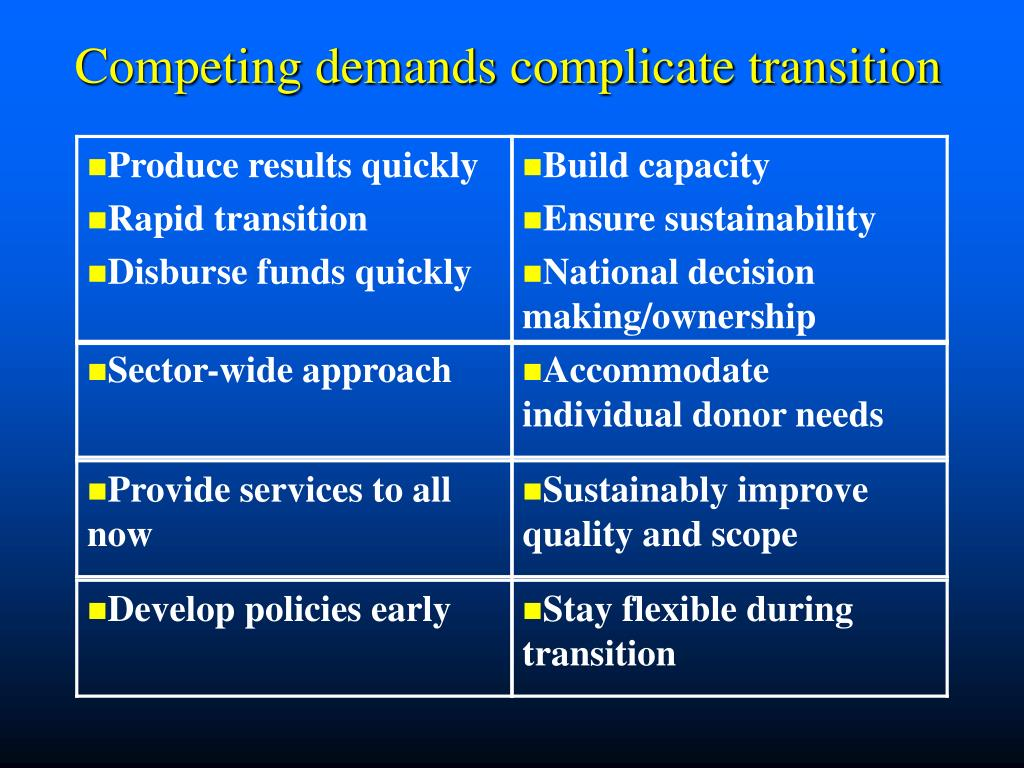 Competing demands complicate transition