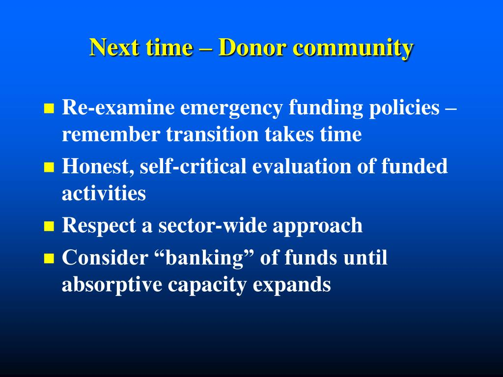 Next time – Donor community