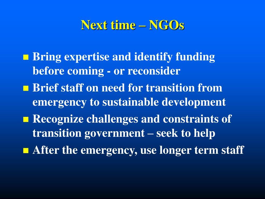 Next time – NGOs