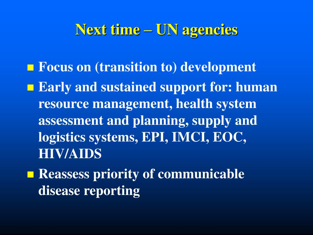 Next time – UN agencies