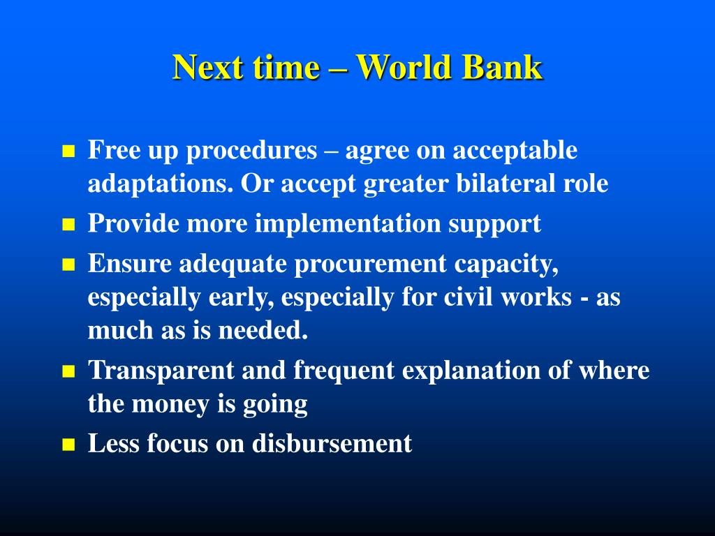 Next time – World Bank