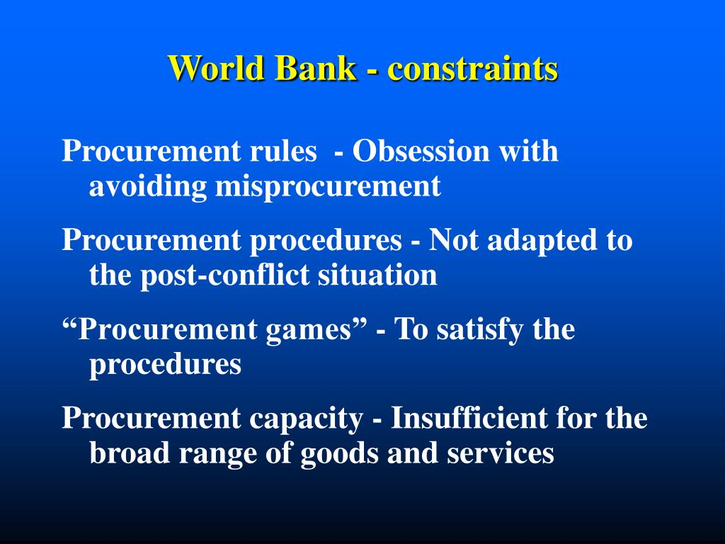 World Bank - constraints