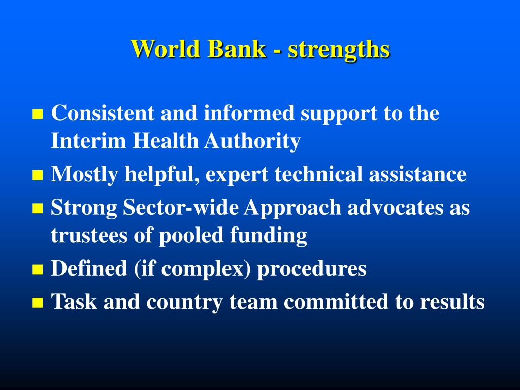 World Bank - strengths