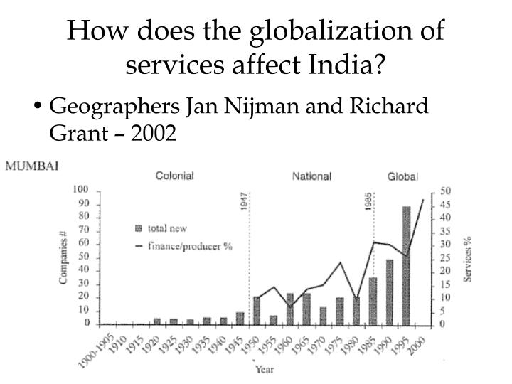 How does the globalization of services affect India?