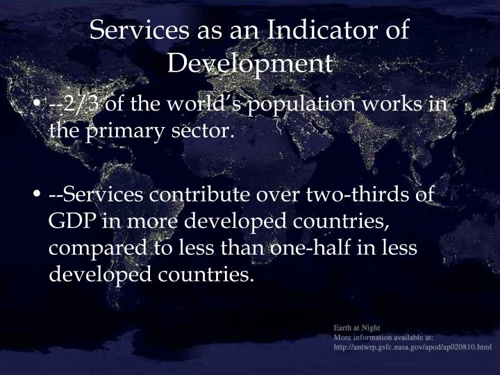 Services as an Indicator of Development