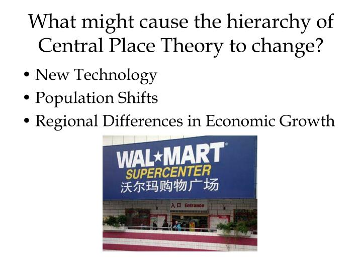 What might cause the hierarchy of Central Place Theory to change?