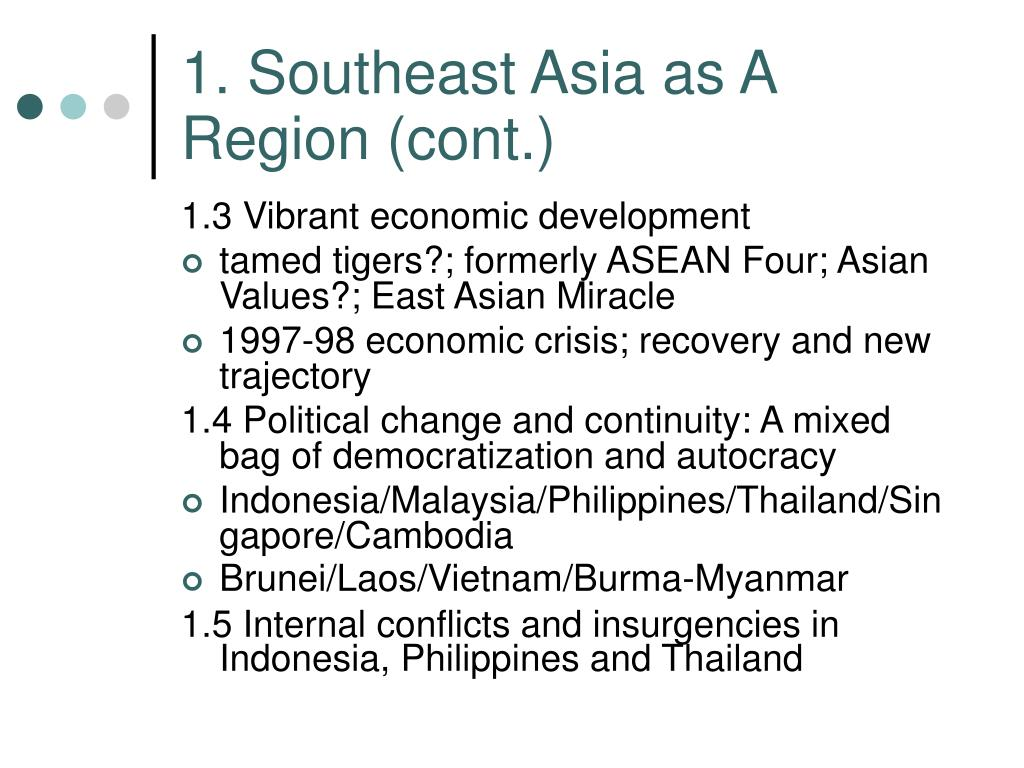 1. Southeast Asia as A Region (cont.)