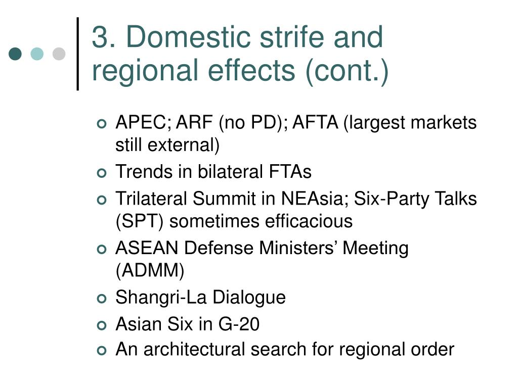 3. Domestic strife and regional effects