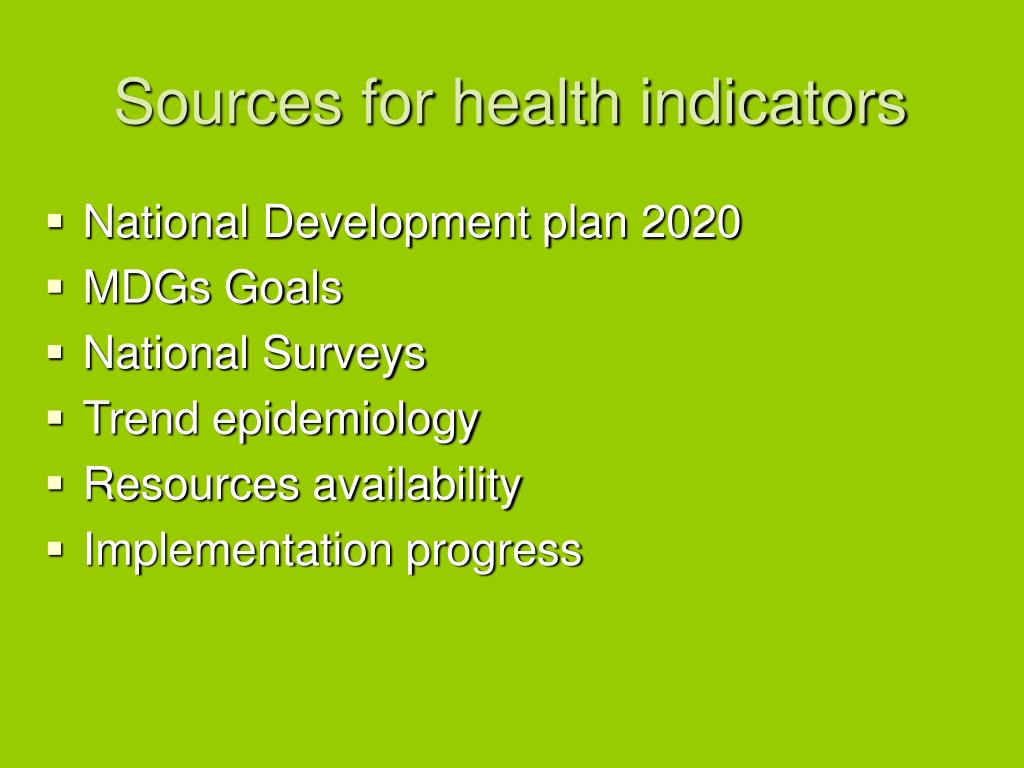 Sources for health indicators