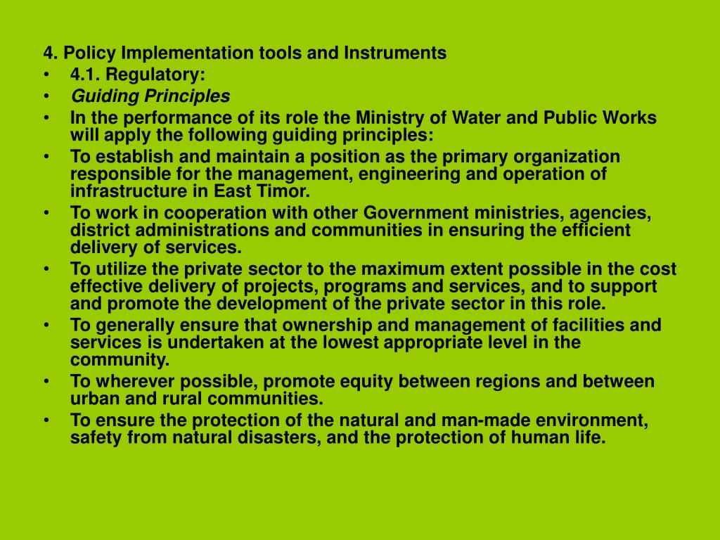4. Policy Implementation tools and Instruments